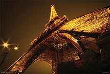Glowing Eiffel Tower Poster (24x36) With Choice of Rolled/Frame/Plaque