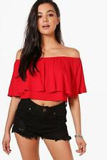 Boohoo Womens Libby Off The Shoulder Frill Crop Top