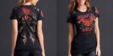 Sinful EN FUEGO Womens Top S NWT T-Shirt Wings Flame Affliction Black