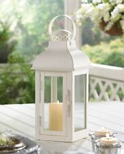 BULK LOTS Medium White Iron Domed Roof Candle Lanterns with Clear Glass Panels