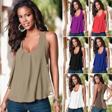 Women New Top Chiffon Vest Tank Vest Camisole Tiered Layer Shirt Blouse Tee Plus