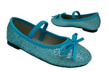Girls Shoes Grosby Sprinkle Glitter Mary Jane Ballet Flats Blue Euro Size 25-31