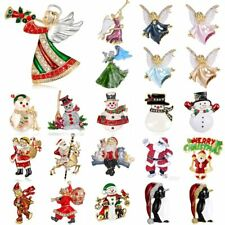 Christmas Angel Series Crystal Brooch Pins Xmas Costumes Wedding Woman Jewelry