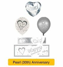 PEARL 30th Wedding ANNIVERSARY Party Banners, Balloons & Decorations