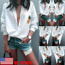 US Women Button Down T-Shirt Loose Shirt Casual Tops 3/4 Sleeve Blouse Long Tee