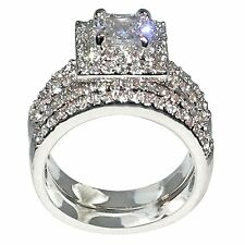 3 Ct. Princess Shape Cubic Zirconia Cz Engagement Bridal Wedding Ring Set (Cente