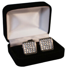 Wedding Men's Cufflinks with Swarovski Crystal Clear Crystals Gift ENGRAVING