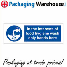IN THE INTERESTS OF FOOD HYGIENE WASH ONLY HANDS HERE SAFETY STICKER MA050 SIGN