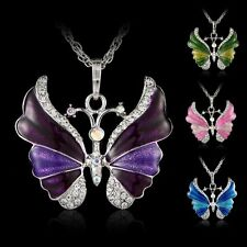Crystal Enamel Butterfly Sweater Long Chain Pendant Necklace Jewelry Xmas Gift