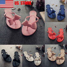 US Women's Girls Slip On Flip Flops Casual Slippers Beach Sandals Bow Shoes Size