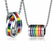 New Stainless Steel Charm LGBT Pride Rainbow Lucky Ring Pendant Necklace Jewelry