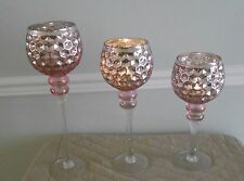 Footed Mercury Glass Goblets With Flameless candles by Valerie CHOICE Set 2, 3