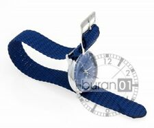 Watch bracelets Textile from Nylon with Stainless steel clasp blue 20 mm