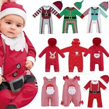 Newborn Infant Boy Girl Christmas Hoodie Romper Jumpsuit Playsuit Outfit Clothes