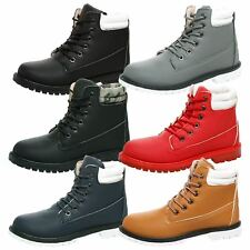 WOMENS SHOES LADIES MILITARY ARMY ANKLE BOOTS CUFF LACE UP FLAT ROUND TOE SIZE
