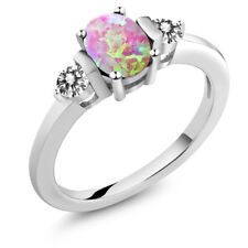 0.83 Ct Oval Cabochon Pink Simulated Opal White Diamond 925 Sterling Silver Ring