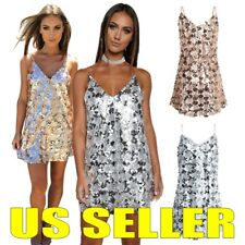 Sexy Women Backless Bling Sequins V-Neck Short Mini Dress Ladies Party Clubwear