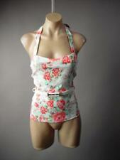 50s Rockabilly Pin Up Floral Print Belted Bustier Halter Top 241 mv Blouse S L