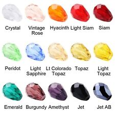 10/50/100pcs  Faceted Glass Crystal Charms Findings Teardrop Spacer Loose Bead