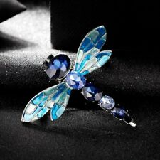 Women Silver Crystal Rhinestone Enamel Dragonfly Bouquet Brooch Pin Jewelry Gift