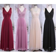Women's Long Formal Evening Prom Lace V-neck Bridesmaid Wedding Party Maxi Dress