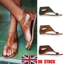 UK Womens Girl Rome Slip On Flat Sandals Gladiator Studs Casual Beach Shoes Size