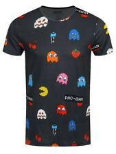 Pac-Man All Over Character Print Men's Grey T-Shirt