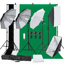 Photo Video Photography Continuous Lighting Kit Muslin Backdrop Stand Set S2
