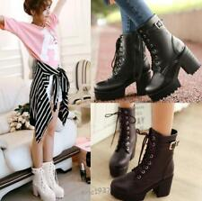 Womens Chunky Heel Round toe Platform Lace up Shoes Punk Goth Creeper Ankle Boot