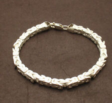 5mm Square Byzantine Bracelet Real 925 Sterling Silver w/ Lobster Claw Clasp