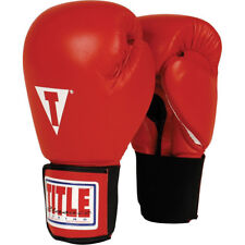Title Boxing Classic Hook & Loop Leather Training Gloves - Red