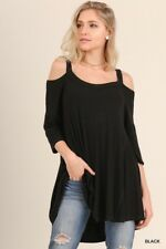 Black UMGEE Cold Shoulder Jersey Knit Tunic Top 3/4 Sleeve Loose Boho Asymmetric