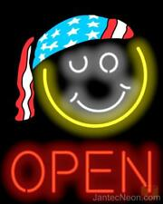 Open Smiley Face Neon Sign Convenience Store Gas Coffee Jantec USA Free Shipping