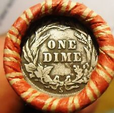 """Wheat Cent Roll  w/ TWO!!  """"s"""" Mint Barber Dimes on the ends (h40)"""