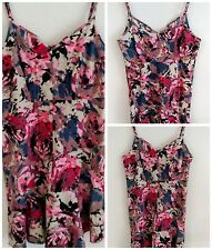 Anthropologie Kimchi Blue Fit Flare Strappy Floral M Dress Cotton Spandex NWOT