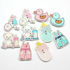 New50/250pcs 33mm Big 2 Holes Baby Show bear duck Craft Sewing Wood Button