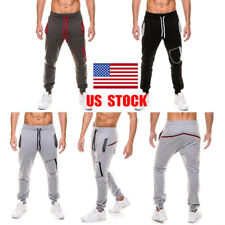US Men Boy Sport Gym Long Pants Workout Athletic Jogging Running Casual Trousers