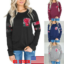 US Women Floral Tops Long Sleeve Blouse Casual Shirts Loose T-Shirt Autumn Tee