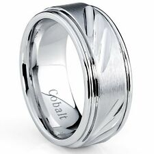 9MM Cobalt Chrome Men's Wedding Band Ring With Slashes, Comfort Fit