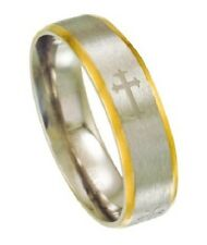 Men's Two Tone Satin Finish 6mm Comfort Fit Stainless Steel Ring