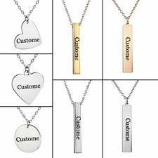 New Personalized Heart Shape Stainless Steel Engraving Bar Necklace Custom Gift