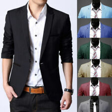 Stylish Men's Casual Slim Fit One Button Suit Blazer Coat Jacket Tops Fashion *&