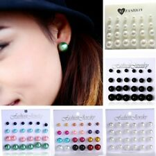 12Pairs/set Women Lady Round Pearl Stud Earrings Piercing Jewelry Size 6mm-12mm