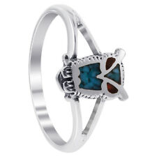 925 Sterling Silver Turquoise and Coral Gemstone Southwestern Style Owl Ring