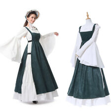 Women Medieval Renaissance Cover Dress Vest Suspender Skirt Wench Gown Costume
