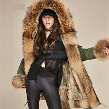 Women's Raccoon Fur Collar Rabbit Fur Lining Hooded Coat Jacket Winter Parka New