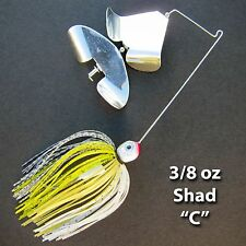 Buzzbait Tandem SHAD C bass fishing buzz baits. FREE KVD trailer hook.