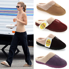LADIES WOMENS WARM WINTER FUR LINED HARD SOLE SLIP ON MULES TOP SLIPPERS SIZE