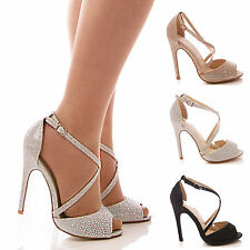 LADIES WOMENS HIGH HEEL DIAMANTE BRIDAL PEEP TOE PARTY PROM WEDDING SHOES SIZE