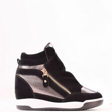 LADIES WOMENS MID HEEL WEDGE GOLD ZIP PLATFORM HI TOP TRAINERS ANKLE BOOTS SIZE